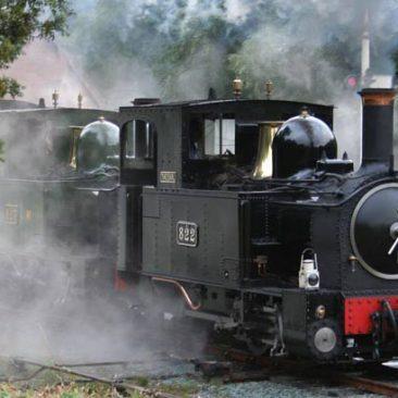 The narrow guage steam railway follows the Banwy valley to Llanfair Caereinion
